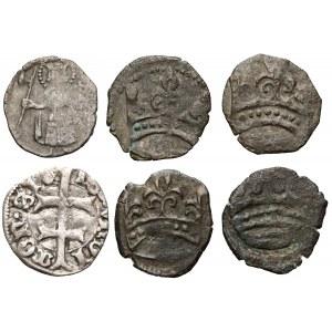 Węgry, Zygmunt I Luksemburczyk (1387-1437) ZESTAW od 1/4 do 1 denara (6szt)