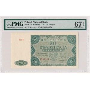 20 złotych 1947 - Ser.D - PMG 67 EPQ