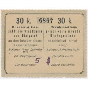 Białystok, 30 kopiejek 1915 - blankiet z dopiskiem 5$