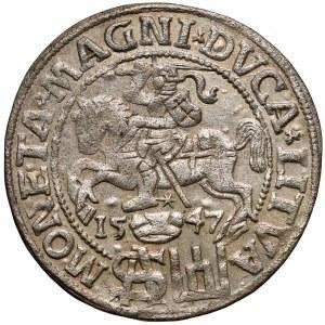 Zygmunt II August, Grosz na stopę polską 1547 - późny portret (RR)