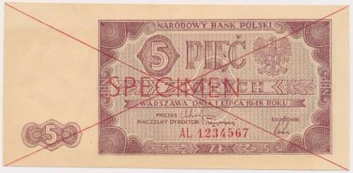 SPECIMEN 5 złotych 1948 - AL 1234567