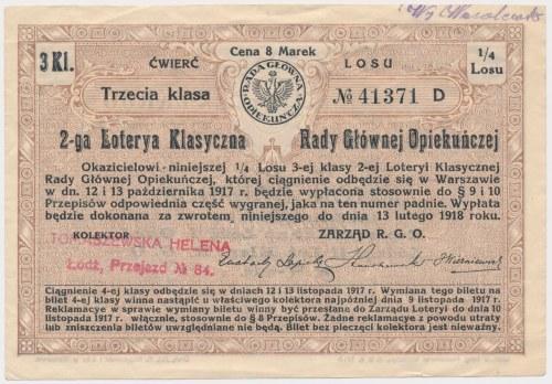 2-ta Loteria Rady Głównej Opiekuńczej, 1/4 losu 3 Kl.