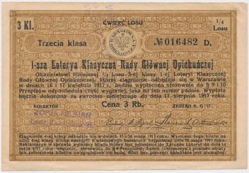 1-sza Loteria Rady Głównej Opiekuńczej, 1/4 losu 3 Kl.