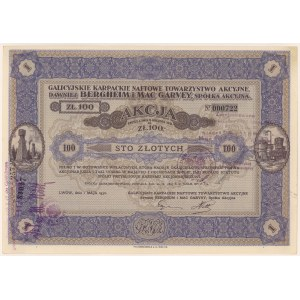 Galicyjskie Karpackie Naftowe Tow. Akc. dawn. Bergheim..., 100 zł 1932