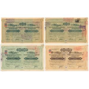 Galicya Galicyjskie Tow. Naftowe, 1910 i 1924 zestaw (4szt)