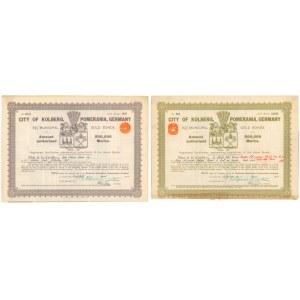 Kołobrzeg, 8-1/2% Municipal Gold Bonds, 200 i 2.000 gold marks 1930 (2szt)