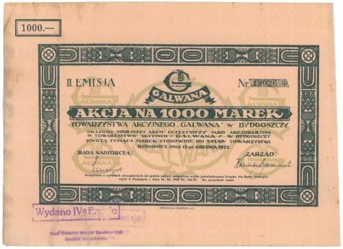 Galwana Tow. Akc. w Bydgoszczy, Em.2, 1.000 mkp 1922