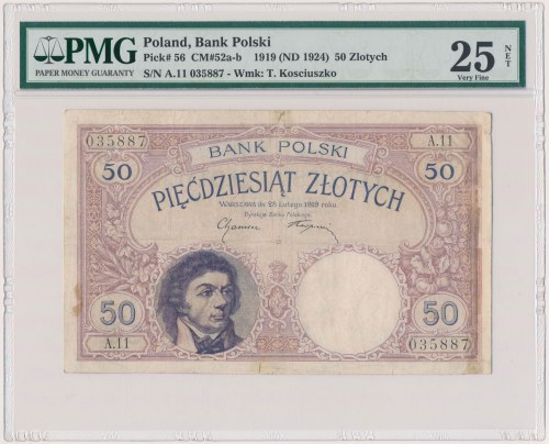 50 złotych 1919 - A.11 - PMG 25 NET