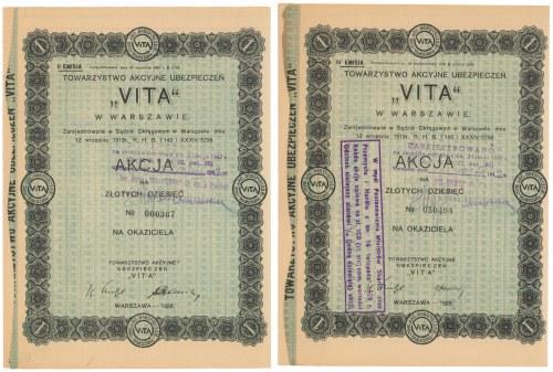 Towarzystwo Akc. Ubezpieczeń Vita, Em.2 i 4, 10 zł 1928 (2szt)