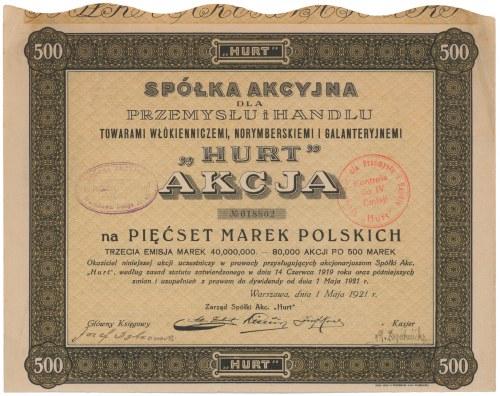 Hurt Towary Włókiennicze, Norymberskie i Galanteryjne, Em.3, 500 mkp 1921