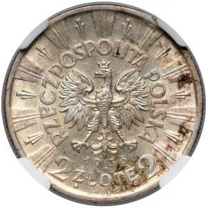 Piłsudski 2 złote 1936 - rzadki rocznik - NGC MS62