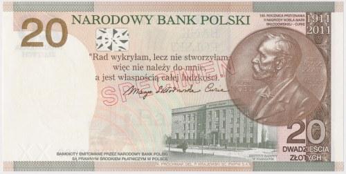 WZÓR 20 złotych 2011 - MS 000000 - M. Skłodowska-Curie