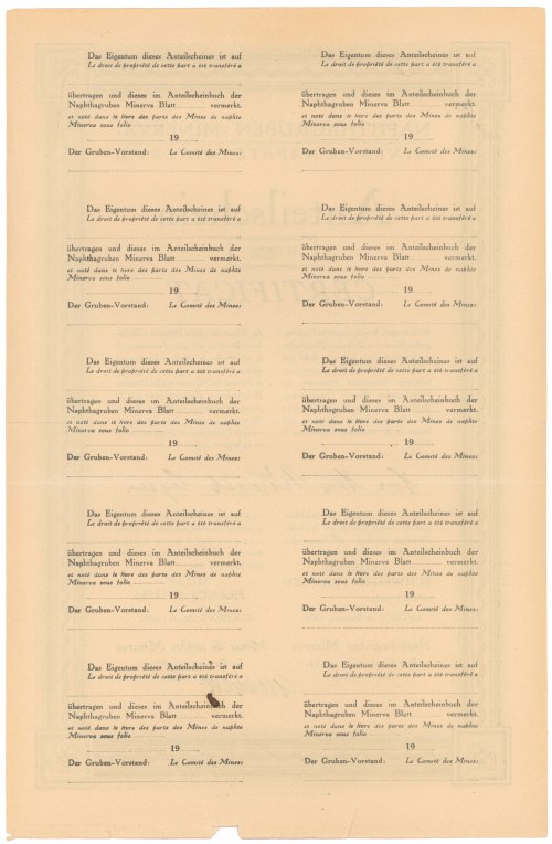 Mines de Naphte MINERVA, 100 franków 1923