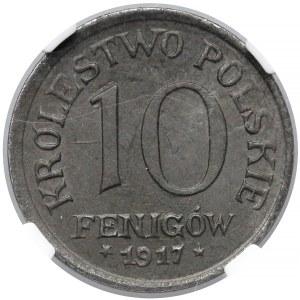 Królestwo Polskie, 10 fenigów 1917 - NGC MS64 (MAX)