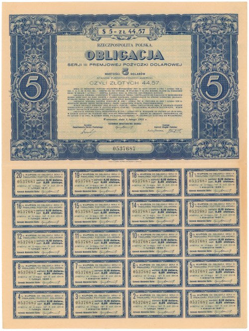 Premjowa Poż. Dolarowa 1931, Ser. III Obligacja na $5 - PEŁNY ARKUSZ