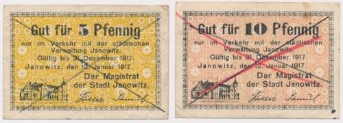 Janowitz (Janowiec), 5 i 10 pfg 1917 - skasowane (2szt)