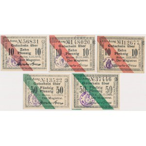 Stuhm (Sztum), 3x 10 i 2x 50 pfg 1918-1920 (5szt)