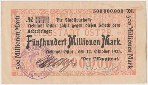 Liebstadt Ostpr. (Miłakowo), 500 mln mk 1923