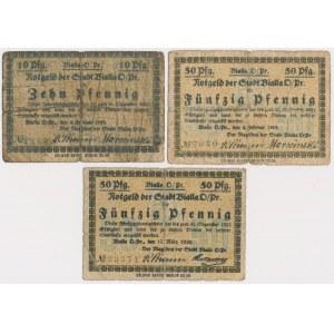 Bialla (Biała Piska), 10 i 2x 50 pfg 1919-1920 (3szt)