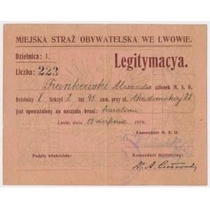 Lwów, Miejska Straż Obywatelska, Legitymacja 1919