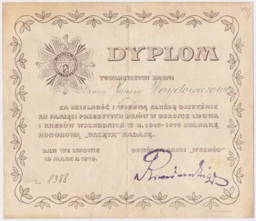 Lwów, Dyplom do odznaki Orlęta