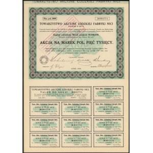 Towarzystwo Akc. Łódzkiej Fabryki Nici, 5.000 mkp 1922