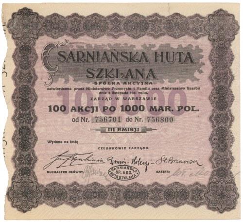 Sarniańska Huta Szklana, Em.3, 100x 1.000 mkp 1923