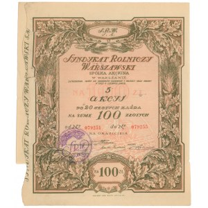 Syndykat Rolniczy Warszawski, 5x 20 zł 1926
