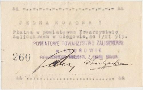 Głogów, Powiatowe Tow. Zaliczkowe, 1 korona 1919 - rzadkość