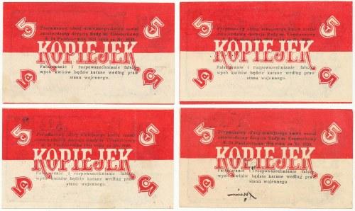 Częstochowa, Tow. Poż.-Oszczędnościowe, 5 kopiejek 1914 zestaw 4 szt. - różne podpisy i rodzaje numeracji
