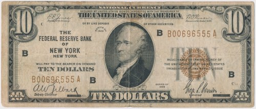 USA, 10 dollars 1929, National Currency, New York, Federal Reserve, B