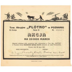 Płótno Tow. Akc. w Poznaniu, Em.3, 20.000 mk 1923