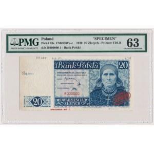 Londyn 20 złotych 1939 - SPECIMEN K 000000 - PMG 63