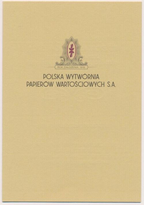 PWPW, 50 lat PZF (2000r), Znaczek stalorytniczy Barbakan w folderze promocyjnym