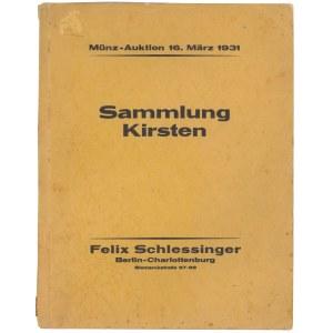Felix Schlessinger, Auktions Katalog 1931 - Sammlung Kirsten, Reichsgold., Antike