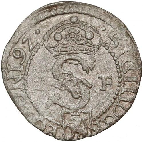 Zygmunt III Waza, Szeląg Olkusz 1592 IF - data 9Z - rzadki