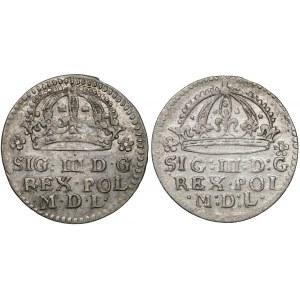 Zygmunt III Waza, Grosz Kraków 1609 - Lewart i Pilawa (2szt)