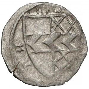 Ks. Opawskie, Wacław II, Mikołaj V... (1433-1456) Halerz Opawa - tarcza z pasem