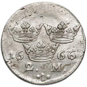 Szwecja, Karol XI, 2 marki 1666