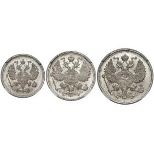 Rosja, Mikołaj II, 10, 15 i 20 kopiejek 1913 BC - NGC MS66