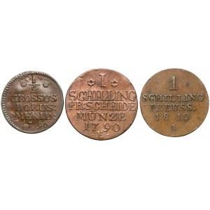 Prusy, Fryderyk Wilhelm II i III, Szelągi i półgrosz, w tym WROCŁAW (3szt)