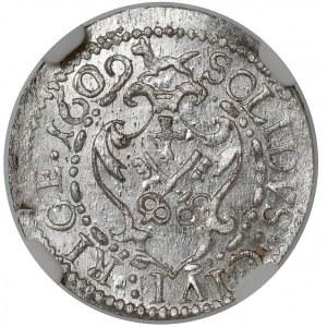 Zygmunt III Waza, Szeląg Ryga 1609 - data w otoku - NGC MS62