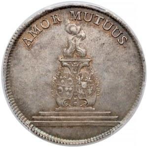 August III Sas, 2/3 talara 1747 - gulden zaślubinowy - PCGS AU55