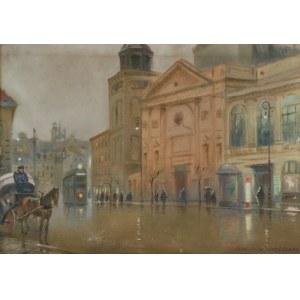 Franciszek SUNDERLAND, 1 poł. XX w., Krakowskie Przemieście o zmierzchu, 1935