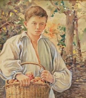Stanisław GIBIŃSKI (1882-1971), Chłopiec z koszem jabłek