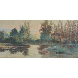 Michał POCIECHA (1852-1908), Pejzaż nadwodny ze sztafażem