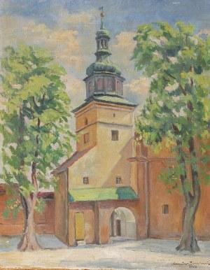 Mieczysław BIESZCZANIN (1910-1968), Widok na wieżę kościoła, 1939
