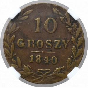 Zabór rosyjski, 10 Groszy 1840 - fałszerstwo z epoki