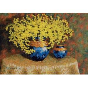 Borys PETRYŃSKI, XX w., Mimozy w błękitnym wazonie