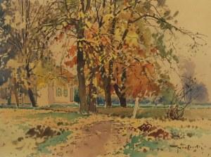 Tadeusz NARTOWSKI (1892-1971), Pejzaż jesienny z dworkiem